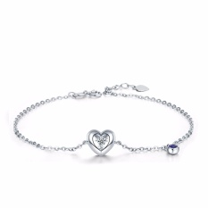 Tiaria 18K Diamond Heart Sapphire Bracelet Gelang Emas Wanita
