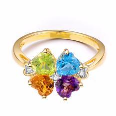 Tiaria 18K Gracious Clover Leaf Ring Yellow Gold Perhiasan Emas Cincin