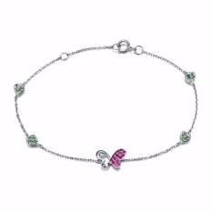 Tiaria 18K Ruby Butterfly Bracelet White Gold Aksesoris Perhiasan Emas