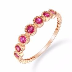 Tiaria 18K The Crown Garnet Ring Rose Gold Perhiasan Emas Cincin