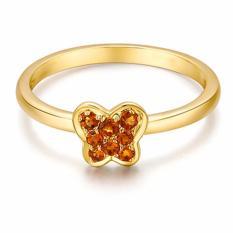Tiaria 9K Butterfly Citrine Ring Yellow Gold Perhiasan Emas Cincin