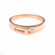 Tiaria DJXJZ046 Cincin Tunangan Emas dan Berlian Rose Gold
