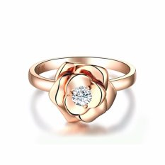 Tiaria Resplendent Rose Ring Perhiasan Cincin Tunangan Emas Wanita 9K Gold with Zircon