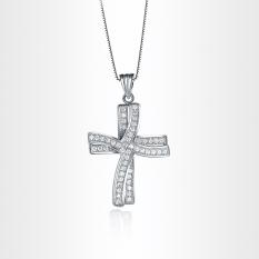 Tide Pioneer Fashion Wanita Perhiasan Putih Berlapis Emas Crystal Double Salib Pendant Kalung-Intl