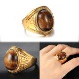Jual Tiger S Eye Batu Cincin Vintage Untuk Pria Kuning Gold Berlapis Perhiasan Cincin Intl Oem Murah