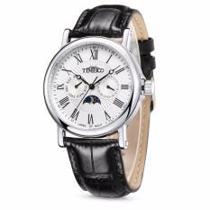 Spesifikasi Time100 Pria Quartz Watches Hitam Tali Kulit Auto Tanggal Sun Fase Angka Romawi Bisnis Wrist Watch W80035G 01A Intl Bagus