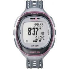 Timex Womens T5K629 Ironman Run Trainer GPS Speed + Distance Silver-Tone/Pink Resin Strap Watch - intl