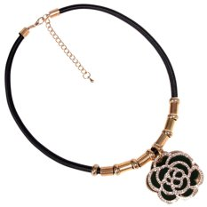 Harga Timmy Queen Crystal Flower Chocker Necklace N0900 Blk Kalung Chocker Wanita Seken