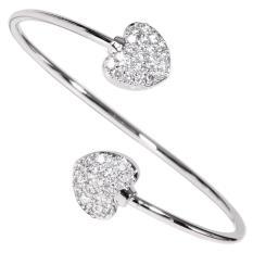Toko Timmy Shiny Crystal Double Heart Bangle B0800 Gelang Wanita Online Terpercaya