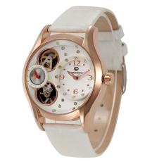 Tinpsy Asli Forsining Mewah Merek Wanita Kuarsa Jam Tangan Putih Pu Kulit Arloji Kapal Gratis (Putih)-Internasional