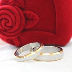 (Bisa Bayar Di Tempat) 2 Cincin + Kotak Cincin Couple / Kawin / Nikah Titanium Perak Emas Original