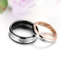 [Bisa Bayar Di Tempat] 2 Cincin + Kotak Cincin Couple / Tunangan / Kawin Titanium Original CC014