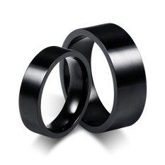 Titanium - 2 Cincin + Kotak -  Cincin Couple / Cincin Nikah / Cincin Kawin High Quality - Hitam