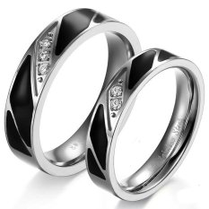 Beli Titanium Cincin Couple Black Strips Crystal Ring Cicil