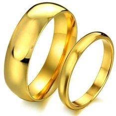 Titanium Cincin Couple / Cincin Tunangan / Cincin Kawin CR012 - Gold