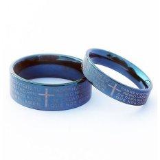 Harga Titanium Cincin Couple Cross Ring Biru Termurah