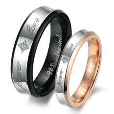 Review Titanium Cincin Couple Forever Rosegold Black Ring