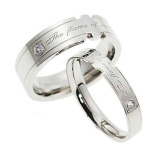 Jual Titanium Cincin Couple Frame Silver Ring Branded Original