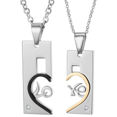Titanium Kalung Couple - Love Shape Necklace - Silver-Emas