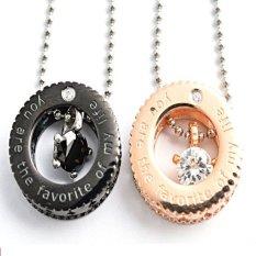 Beli Titanium Kalung Couple Mini Turtle Necklace 2 Buah Hitam Gold Terbaru
