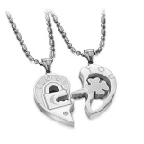Beli Titanium Stainless Steel Heart Love Lock Key Couple His Hers Necklace Valentines Intl Secara Angsuran