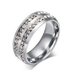 Baja Titanium Ganda-Dayung Berlian Imitasi Cincin untuk Pria Bagus untuk Hadiah-Internasional