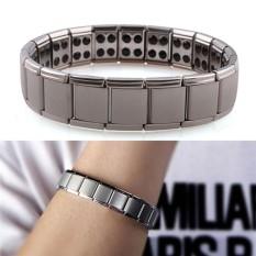 Titanium Steel Elastic Stretch Bracelet For Men Women Energy Health Bangle Silver 19.5cm - intl