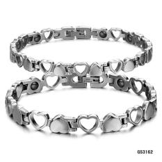 Titanium Steel Perhiasan dengan Magnetic Hollow Out Love Radiasi Perlindungan Anti-kelelahan Pasangan Gelang GS3162