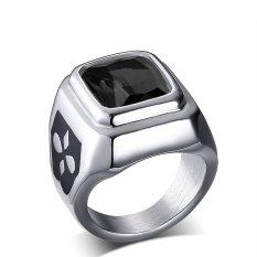 Baja Titanium Retro Korea Modis Hitam Berlian Imitasi Cincin untuk Pria Bagus untuk Hadiah-Internasional