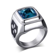 Baja Titanium Fashion Korea Retro Biru Berlian Imitasi Cincin For Pria Cocok untuk Hadiah-Internasional
