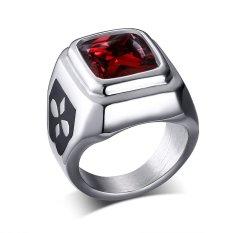 Baja Titanium Retro Korea Modis Merah Berlian Imitasi Cincin untuk Pria Bagus untuk Hadiah-Internasional