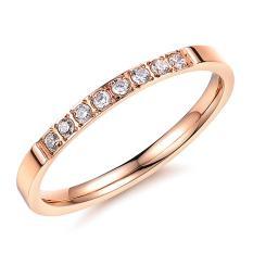 Beli Titanium Steel Cincin Fashion Jewelry Zircon Cincin Untuk Women Rose Emas Online Tiongkok