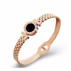 Titanium Steel Roma Nomor Black Round Charm Bangles Untuk Women Love Letter Rose Gold Rantai Gelang & Bangle Wanita- Intl By Happy Power Store.