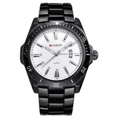 Top Brand CURREN Auto Tanggal Tahan Air Pria Steel Watchband QUARTZ Watch Casual Pria Jam Tangan Asli 8110 (Silver Black) -Intl