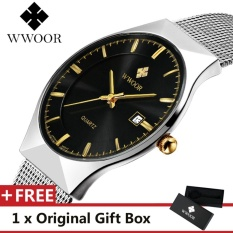 Top Merek Mewah WWOOR pria Jam Tangan Stainless Steel Band Display QUARTZ Men Wrist jam Ultra Tipis Dial Jam Fashion watch Black