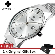 Top Merek Mewah WWOOR Pria Jam Tangan Stainless Steel Band Display QUARTZ Men Wrist Jam Ultra Tipis Dial Jam Fashion Jam Tangan Putih-Intl