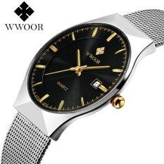 Top Merek Mewah WWOOR Watch Pria Merek Pria's Watches Ultra Tipis Stainless Steel Mesh Band Jam Tangan Kuarsa Fashion Casual Watches 8016 (Silver Black) -Intl