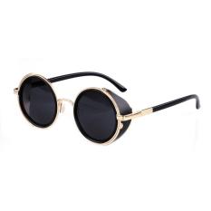 Toprank Cool Kacamata Bingkai Logam Round Sunglasses Unisex Punk Wanita Pria Mengembalikan Mirror (Hitam)