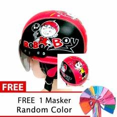 Harga Toserba Helm Anak Lucu Usia 1 4 Tahun Karakter Boboi Boy Hitam Merah Free Masker Mulut Lengkap