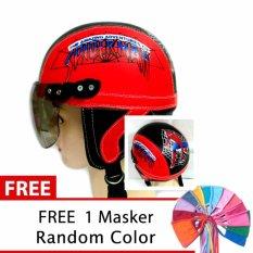 Toserba - Helm Anak Lucu Usia 1-4 Tahun Karakter Spiderman  - Merah/Hitam +  Free Masker Mulut