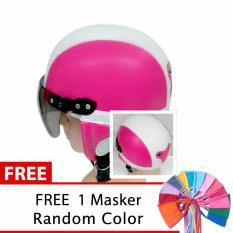 Toserba - Helm Anak Lucu Usia 1-4 Tahun Polos Pink/Putih + Free