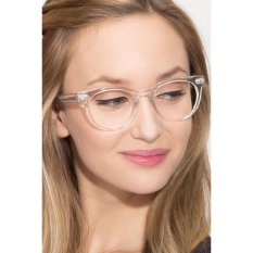 Transparent Clear Frame Cat Eye Clear Lens Glasses Retro Vintage CAT 2487 - Kacamata Pria & Wanita