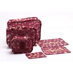 Promo Allunique Travel Bag 6In1 Set Organizer Maroon Flower Banten