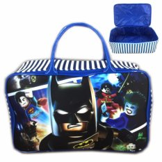 Penawaran Istimewa Travel Bag Kanvas Batman Superman Lego Movie Blue White Terbaru