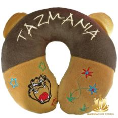 Travel Pillow / Neck Pillow / Bantal Mobil / Bantal Travel / Bantal Leher Coklat Tema Tazmania / Tazzmania