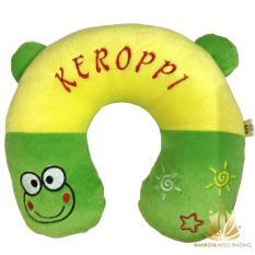 Travel Pillow / Neck Pillow / Bantal Mobil / Bantal Travel / Bantal U / Bantal Leher Hijau Tema Keroppi / Keropi