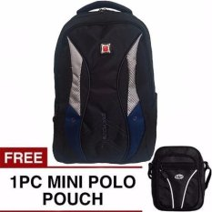 Treaking Michelin Laptop Backpack Hitam Biru With Raincover Free Mini Poloclub Pouch Selempang Murah