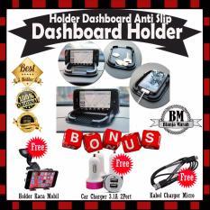 Beli Car Holder Dashboard Anti Slip Dashboard Holder Black Gratis Car Charger 3 1A 2Port Kabel Charger Micro Phone Holder Kaca Mobil For Hp Gps Trends