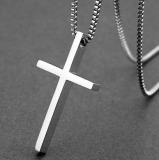 Spesifikasi Trendi Pria Sederhana Permukaan Halus Salib Titanium Baja Kalung Murah