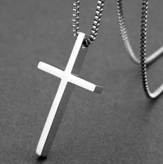 Beli Trendi Pria Sederhana Permukaan Halus Salib Titanium Baja Kalung Cicil